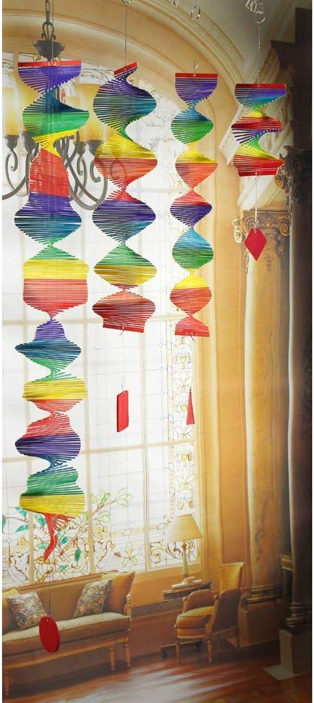 F Fityle 4X Rainbow Spiral Windmill Bunte Wind Garden Home Dekorationen