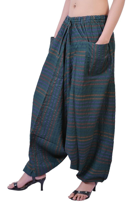 VB Originals Women's Cotton Self Design Strip Harem Pants Baggy Trouser