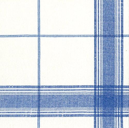Flowers Luncheon Napkins - Entertaining with Caspari Belgian Linen Paper Luncheon Napkins (15 Pack), Blue