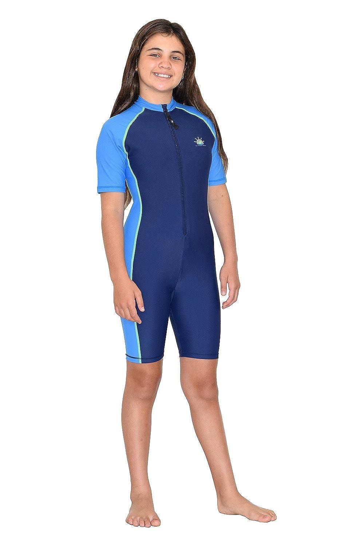 Navy Blue Girls Full Body Sunsuit UV Protective Swimwear UPF50
