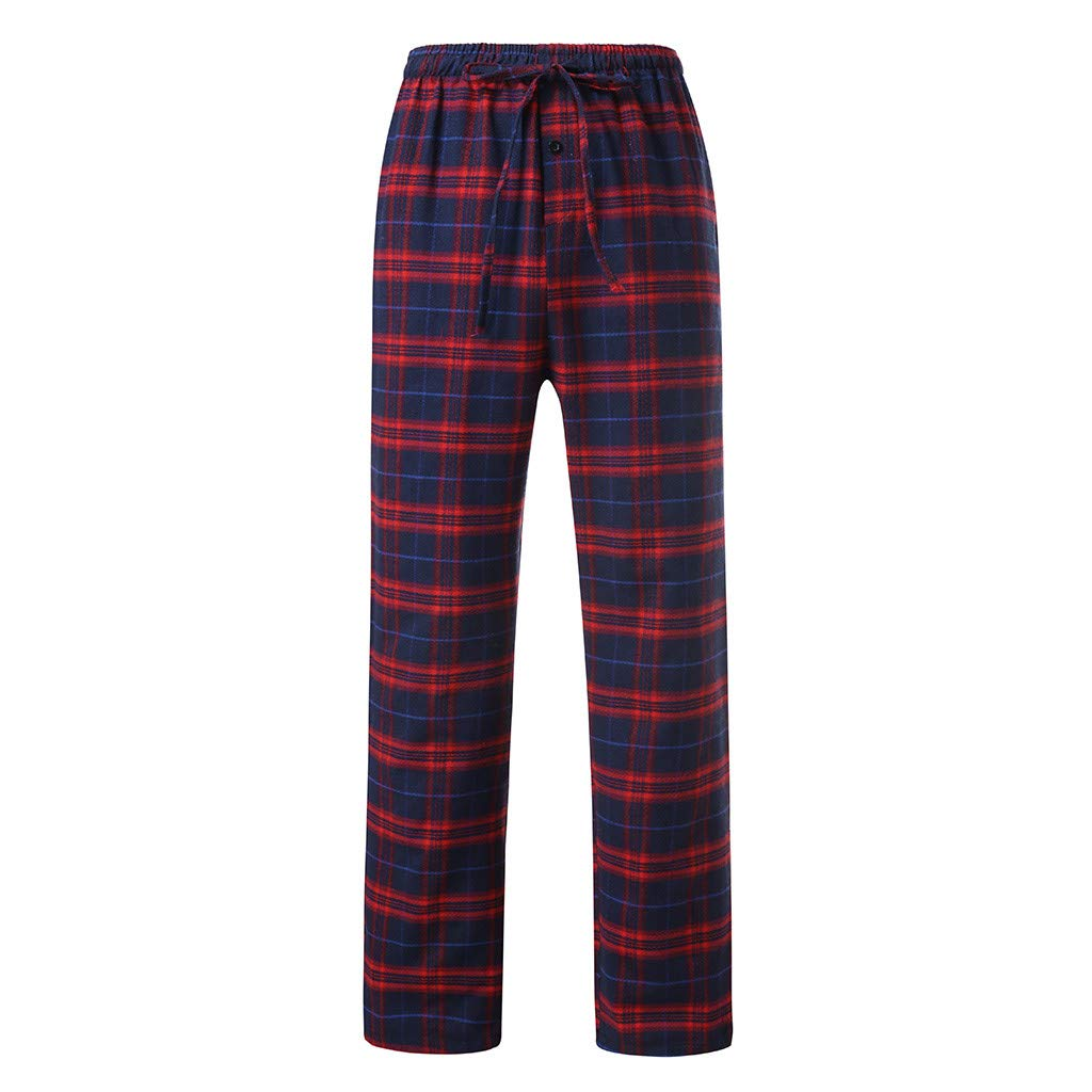 WEUIE Men's Plaid Pajama Pants, Comfy Casual Loose Sleep Trousers Elastic Waist Open Bottom Home Pants