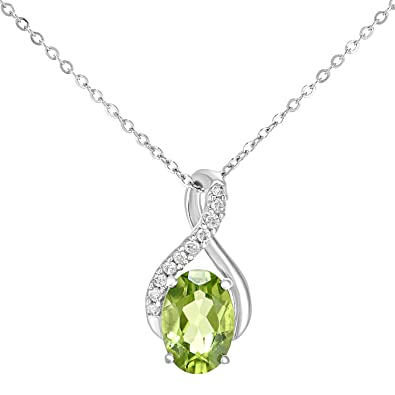 Naava 9ct White Gold Oval Peridot and Diamond Twist Pendant Necklace of 46cm bjLNsaAp1