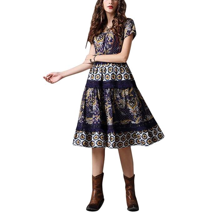 Falda en el mar Borla Floral Vintage Vestido Midi con Vuelo de ...