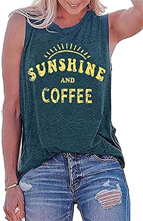 Sunshine and Coffee Tank Tops Women Letters Print Funny Sayings Casual Sleeveless Summer Vest Shirt