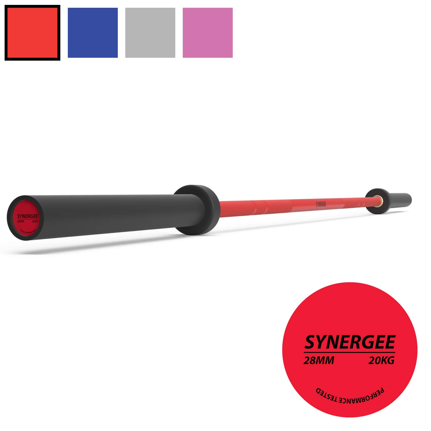 Synergee Games 20kg Colored Men's Red Cerakote Barbell. Rated 1500lbs for Weightlifting, Powerlifting and Crossfit