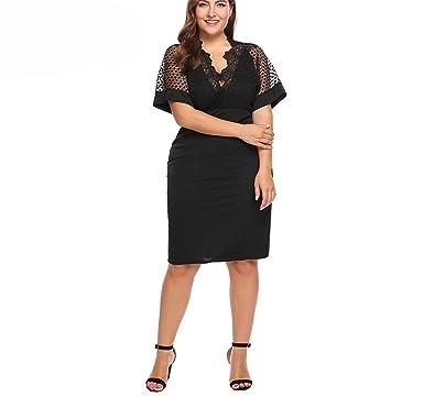 4e5c00f7abe75 Frozac Oversized Women's Dress XL-4XL Summer Batwing Sleeve Hollow ...