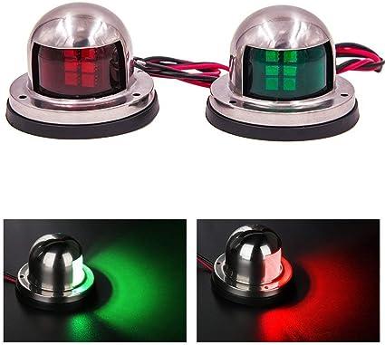 2 Pcs Navigation 8 LED Marine Bow Boat 12V Yacht Pontoon Green Red Bright Lights