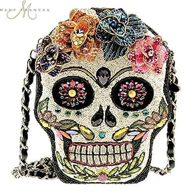 MARY FRANCES Sugar Rush Beaded Sugar Skull Handbag