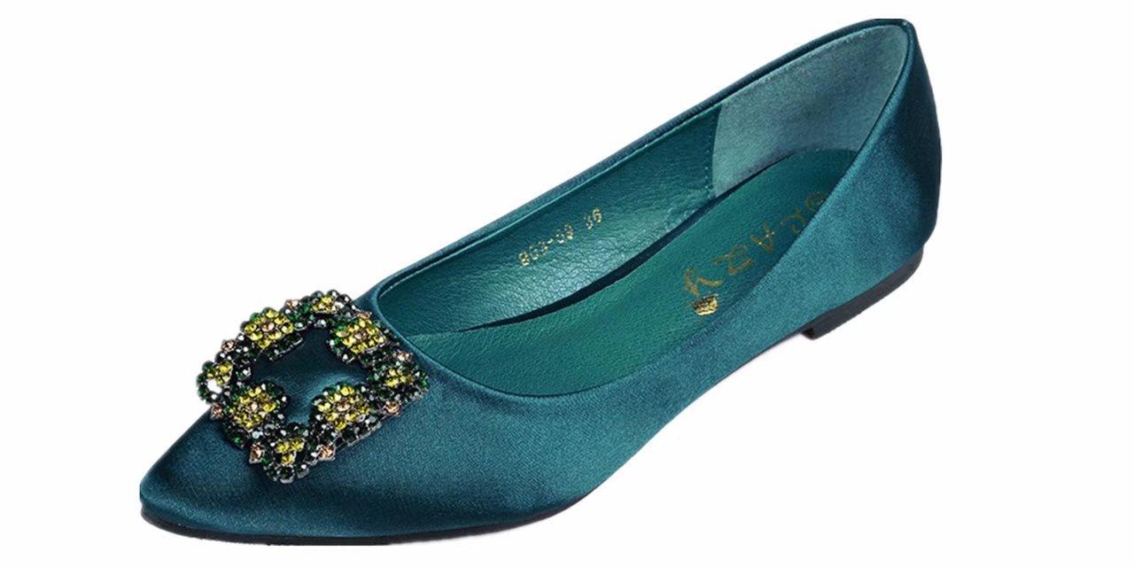 ANBOVER Women's Rhinestone Pointy Toe Ballet Flats Office Flat Comfortable Work Shoes B075JMBMJP 8 B(M) US|Green