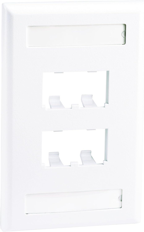 White Panduit CFPL4WHY 1-Gang 4-Port Faceplate