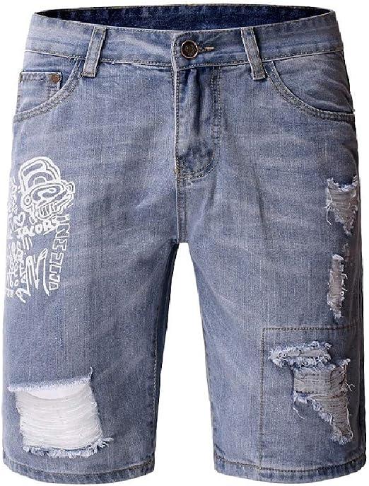 Romancly 男性ポケットスリムフィットプリントウォッシュホールデニムピュアカラージーンズバイカーショートパンツ