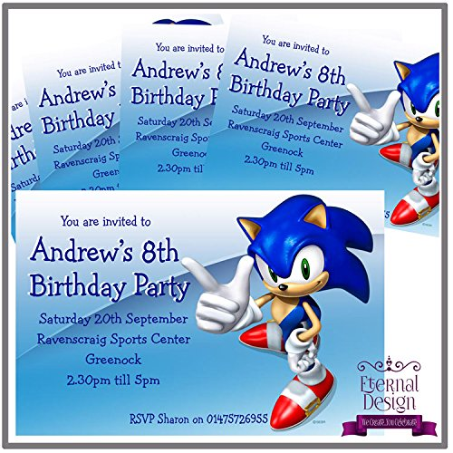 Eternal Design 5 X Personalised Kids Birthday Party Invitations Sonic The Hedgehog Buy Online In Aruba Eternal Design Products In Aruba See Prices Reviews And Free Delivery Over 120 ƒ Desertcart