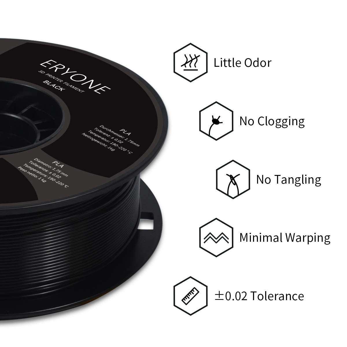1kg 1 Spool 3D Printing Filament PLA for 3D Printer PLA Black ERYONE Filament PLA 1.75mm,PLA 1.75mm Filament