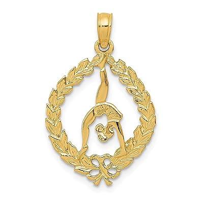 Jewelry 14K Solid Polished Framed Gymnast Pendant Pendants