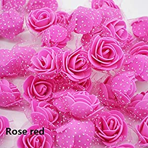 50Pcs/Lot 2.5Cm Mini PE Foam Roses Artificial Silk Flower Heads for Home Party DIY Wreath Supplies Wedding Decoration Rose red 69