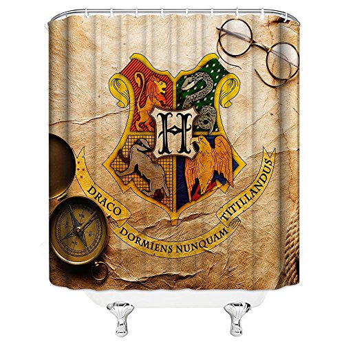 Harry Potter Hogwarts Magic School Logo Shower Curtain for Bathroom Waterproof Polyester Fabric 69 x 70 Inch Home Bath Supplies Accessories Decoration Multipurpose Curtains Set Includes Hooks