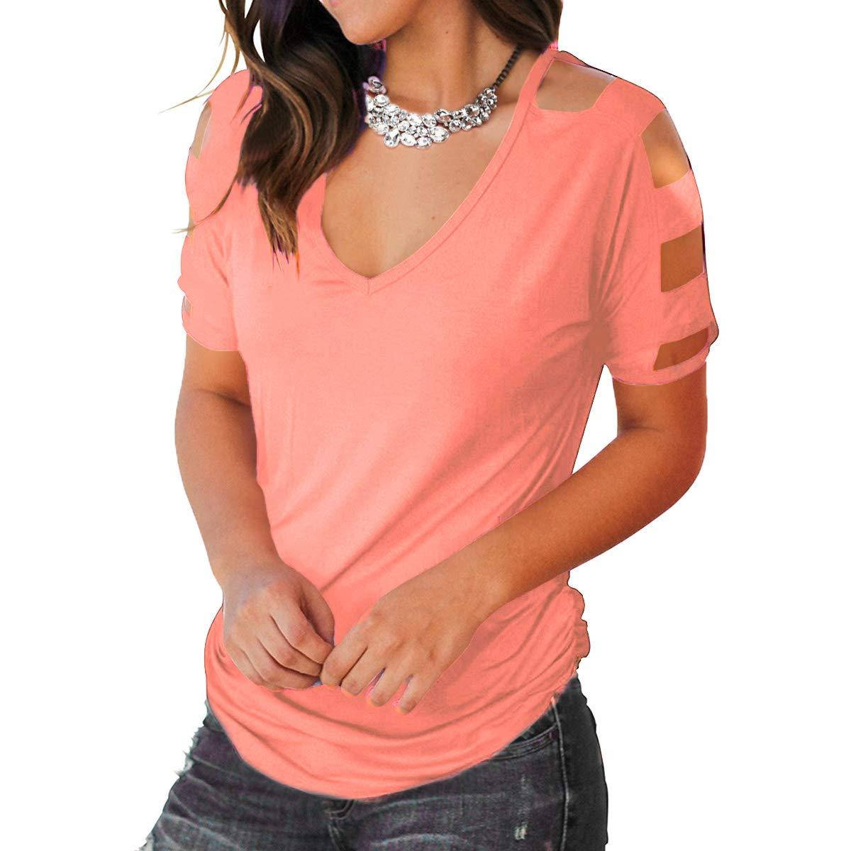 Eanklosco Womens Summer Short Sleeve Cold Shoulder Tops V Neck Basic T Shirts (Pink, L)