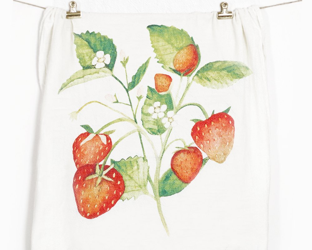 Honey Brush Design Kitchen Dish Towel 100% Cotton Flour Sack Tea Towel (Strawberry)