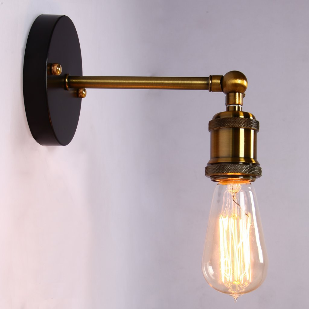 Onepre vintage industrial brass wall sconce edison lamp retro metal onepre vintage industrial brass wall sconce edison lamp retro metal wall light adjustable wall lamp ceiling light amazon lighting mozeypictures Images