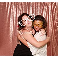 QueenDream 7ft x 7ft(84x84Inch) Blush sequin photography backdrop christmas backdrop wedding decoration shower curtain backdrop