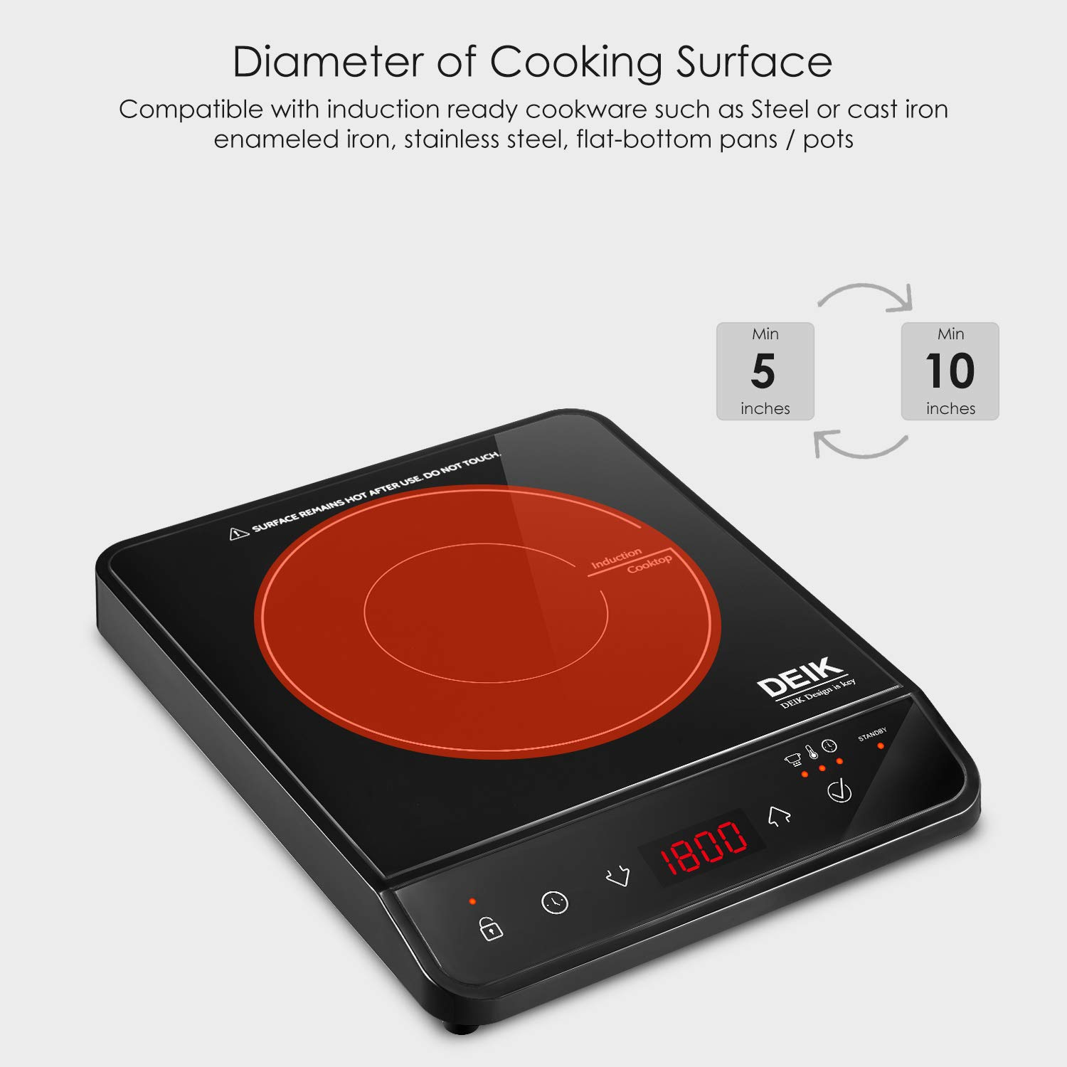 Induction Cooktop, Deik Induction Burner 1800W Sensor Touch with Child Safety Lock, Portable Induction Cooktop with Timer and 10 Temperature Settings, Suitable for Home Kitchen, RV, Boats, Garden by Deik (Image #6)