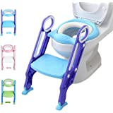 Potty Training Toilet Seat with Step Stool Ladder Adjustable Toilet Training Seat with Soft Anti-Cold Padded Seat Safe…