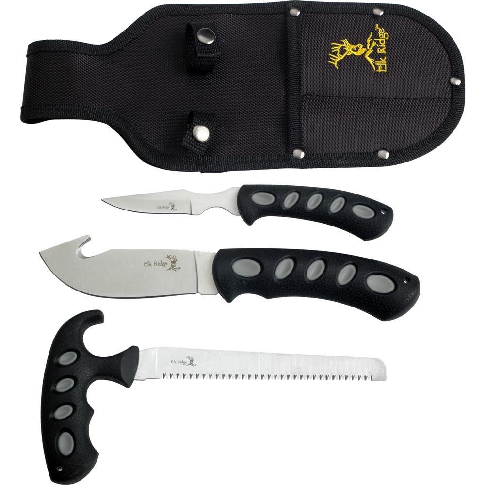 Elk Ridge – Outdoors 3-PC Hunting Knife Set – Satin Finish Stainless Steel Blades, Black Nylon Fiber Handles, Includes Combo Sheath – Hunting, Camping, Survival – ER-252