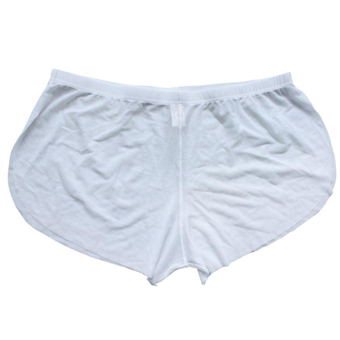 Waistline 27.0-41.0 FEESHOW Mens Soft Sheer Mesh Boxer Briefs Shorts Underwear Swim Trunks White Medium