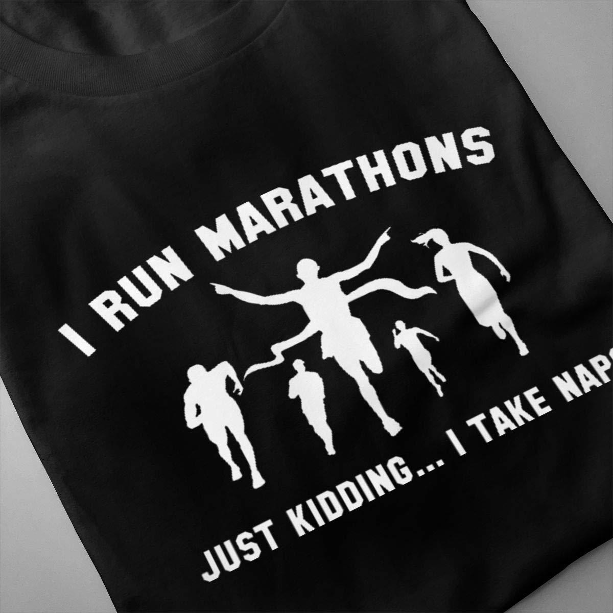 Marsherun Men I Run Marathons Slim Short Sleeve T-Shirts