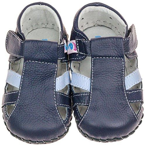 Freycoo Bambini in Vera Pelle Morbida Suola per scarpe, colore: blu Navy e azzurro con chiusura in velcro, con calzascarpe