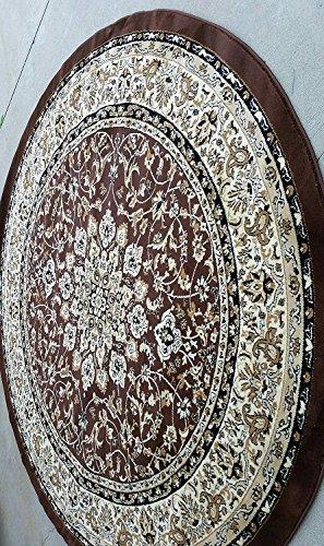 Oriental Round Rug Brown (Traditional Round Persian 330,000 Point Area Rug Brown Deir Debwan Design 603 (4 Feet X 4 Feet ))