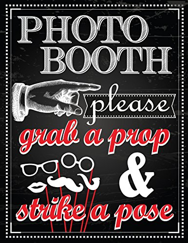 1 Pc Photo Booth Sign Grab a Prop and Strike a Pose]()