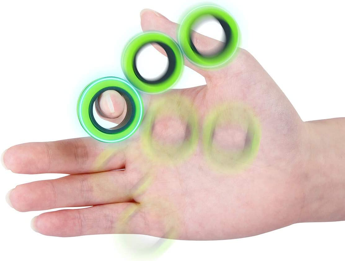 Blue Finger Magnetic Ring Stress Anxiety Decompression Toys Joykey Finger Magic Ring Finger Toy Focus Fidgeting Restless Stress Relief Reducer Ring for Adults Children