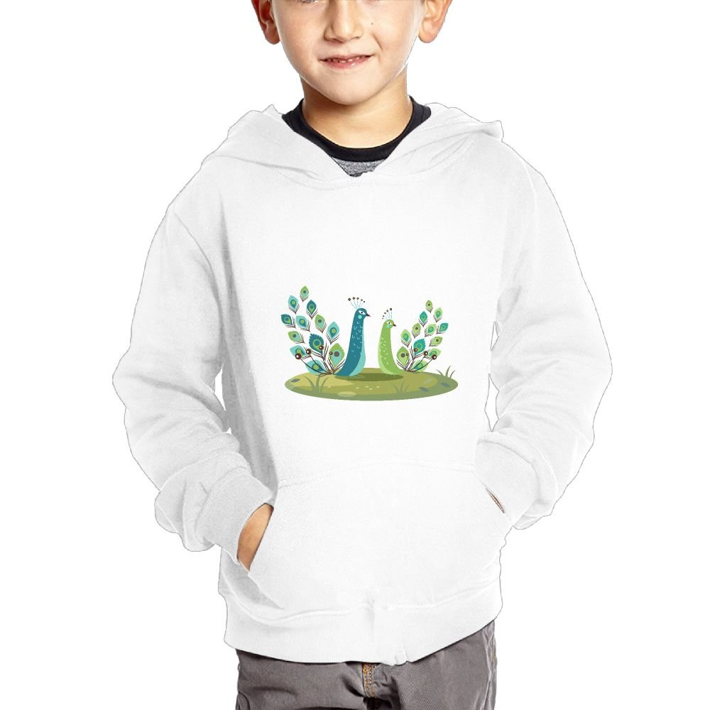 JIANGSHAN Peacock Customization Hooded Pocket Sweater for Children Spring//Autumn//Winter Outfit Long-Sleeved Hoodie