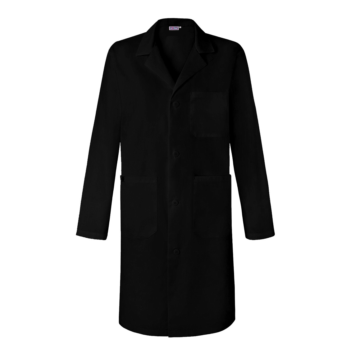 Sivvan Unisex 39 inch Lab Coat - Back Pleated - S8802 - Black - 2X