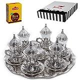(SET of 6) Turkish Tea Glasses Set Saucers Holders Spoons Decorated (Silver) (Halkali)