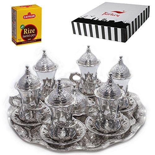 (SET of 6) Turkish Tea Glasses Set Saucers Holders Spoons Decorated (Silver) (Halkali) ()