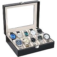 TOUARETAILS PU Leather 10 Slots Wrist Watch Display Box Storage Holder Organizer Watch Case Jewelry Dispay Watch Box- Black