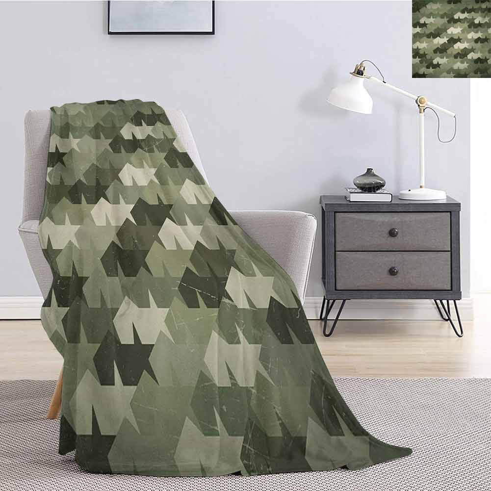 Luoiaax Camo Comfortable Large Blanket Grungy Worn Old Texture Abstract Stars Vintage Mosaic Form Print Microfiber Blanket Bed Sofa or Travel W60 x L50 Inch Dark Green Army Green Khaki