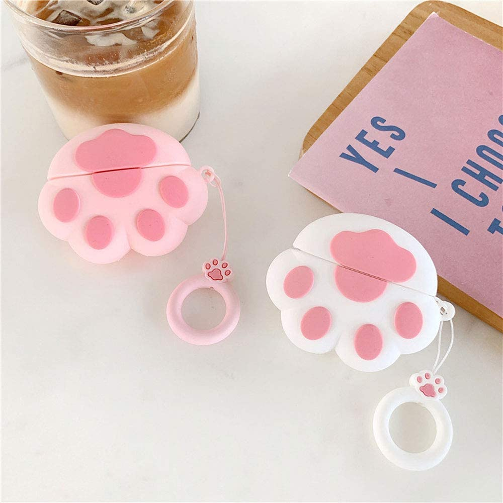 ICI-Rencontrer Creative 3D Cute Cat-pad Design Airpods Case Cat Paw Prints Airpods Pro Accessories Soft Silicone Anti-scratch Shockproof Protective Charging Case With Decoration Pink