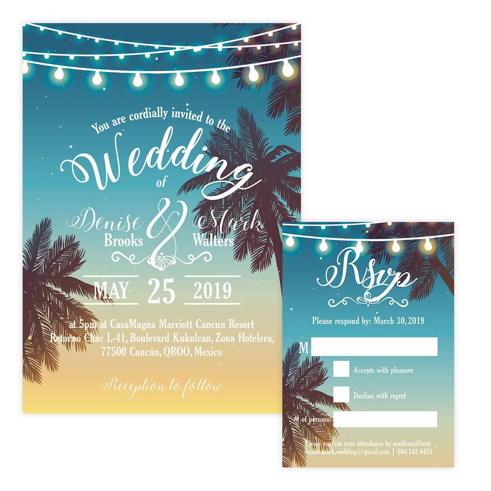 Amazon com: Custom - Beach Wedding Invitation Set - Set of 25