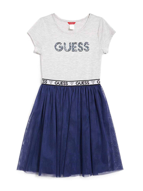 7-16 GUESS Factory Kids Girl/'s Quincy Logo Two-Fer Dress