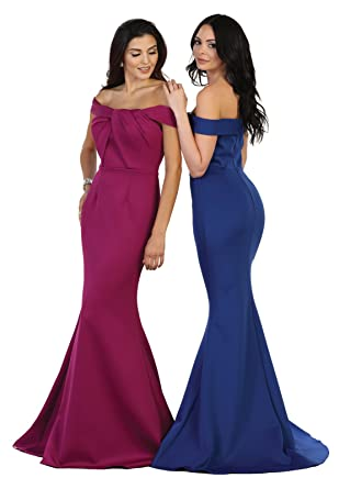 May Queen by Formal Dress Shops MQ1483 Off The Shoulder Prom Mermaid Dress at Amazon Womens Clothing store: