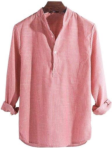 Camisas Hombre Camisa Masculina Primavera Verano Camisa Casual para Hombres Algodón Manga Larga A Rayas Slim Fit Camisas con Cuello Alto S-5XL