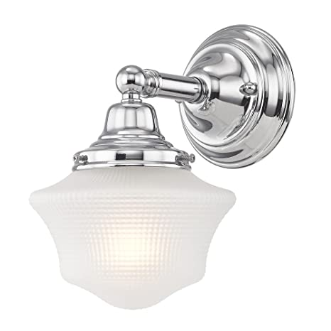 detailed look 43de4 5af53 Prismatic Glass Schoolhouse Sconce Chrome 1 Light 6 Inch ...