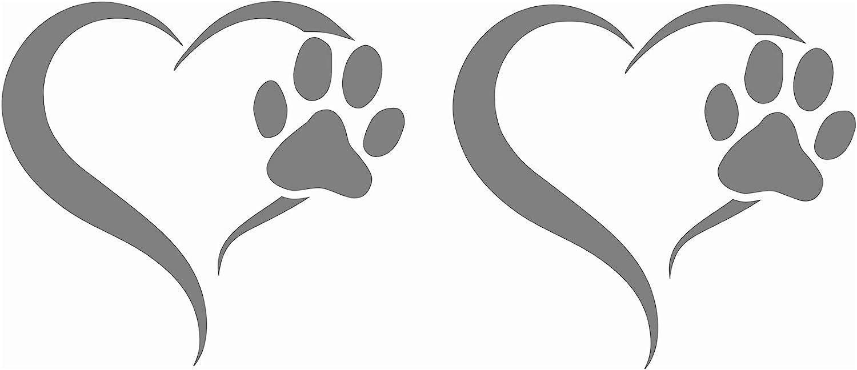 Finest Folia 2er Set Aufkleber Pfote Und Herz 10x11cm Hund Katze Sticker Für Auto Motorrad Wand Laptop Möbel Pfotensticker Hundepfote Selbstklebend K017 Mittelgrau Auto