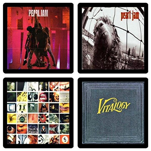 Pearl Jam Collectible Coaster Gift Set #1 - (4) Different Album Covers Reproduced Onto Soft Coasters