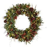 Vickerman 36'' Pre-lit Cibola Mix Berry Pine Artificial Christmas Wreath - Warm Clear LED Lights