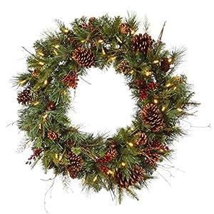 "Vickerman 36"" Pre-lit Cibola Mix Berry Pine Artificial Christmas Wreath - Warm Clear LED Lights"