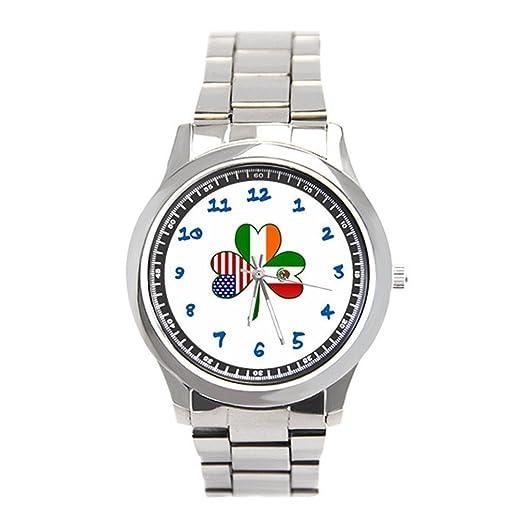 db94409bb8ee fullwe para hombre acero inoxidable relojes mexicano irlandés ...